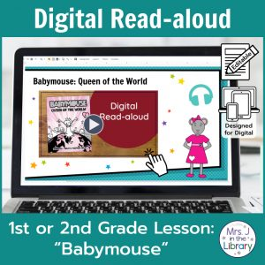 "Laptop computer screen showing ""Babymouse"" Digital Read-aloud title slide."